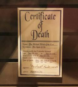 3.	The Wicked Witch of the East's official certificate of death