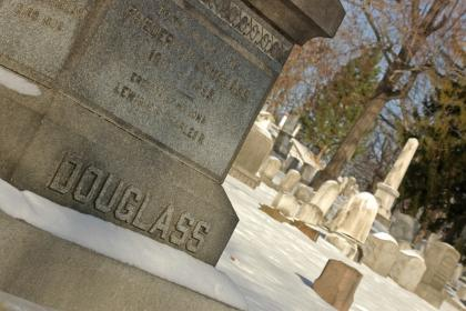 Grave site of Frederick Douglass at Mount Hope Cemetery in Rochester, NY