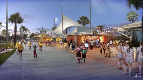 sports complex vendor row artist rendering