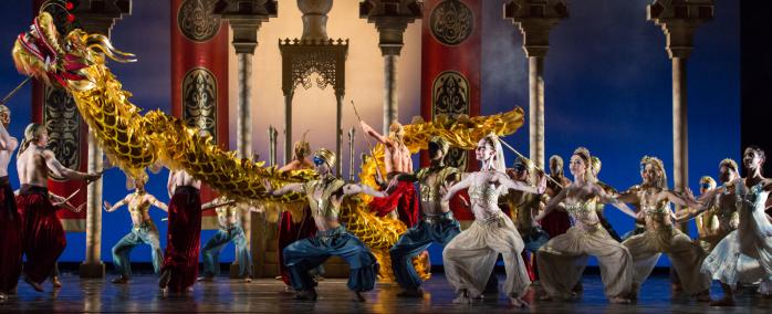 Dancers on stage at the Golden Dragon Performance by Houston Ballet