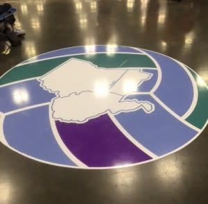 Logo on gym floor