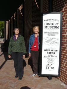 Janet and Carol pose in front of the Sacramento History Museum