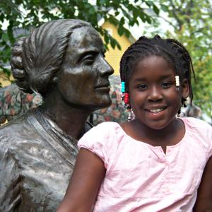 Girl with Susan B. Anthony, Rochester, NY