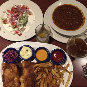 fish and chips at elevator brewery