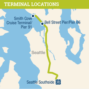 Map of Western Washington showing the distance from Seattle Southside to the two cruise ship terminal locations