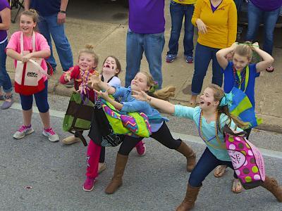 Children catching beads