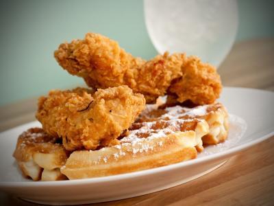 Chicken and Waffles at LaDDa Bistro