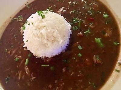Gumbo with Rice at Roadair Roadhouse