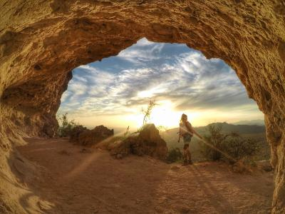 Wind Cave Trail Girl Hiking gopro Photo Usery Mountain Regional Park
