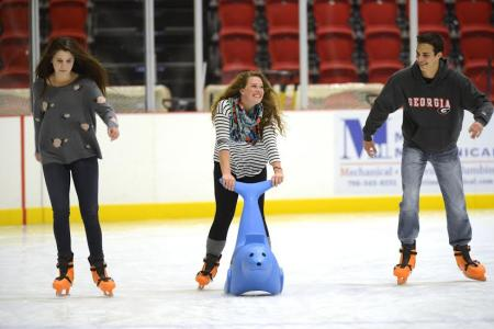 Friends ice skating at 440 Foundry Pavilion - Athens, Georgia