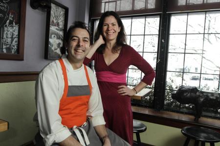Kristin and Matt Gennuso in Chez Pascal restaurant