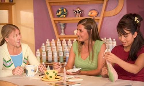 Girls hanging out at Color Me Mine