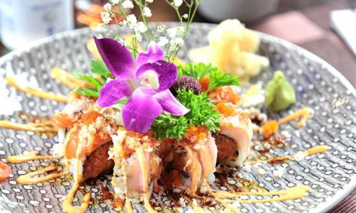 Wasabi Restaurant specialty roll with flower