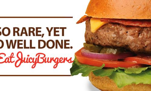 Juicy Burgers & More Burger with hashtag to the side