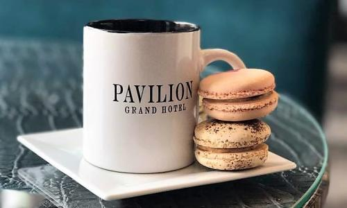 Blue Peacock Bistro cookies with Pavilion mug