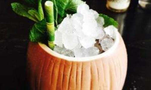 Hamlet and Ghost specialty drink in pumpkin glass
