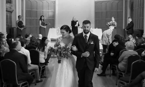 A Wedding on the Hudson B&W Bride and Groom