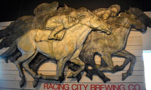 Racing City Brewing Horses on Wall