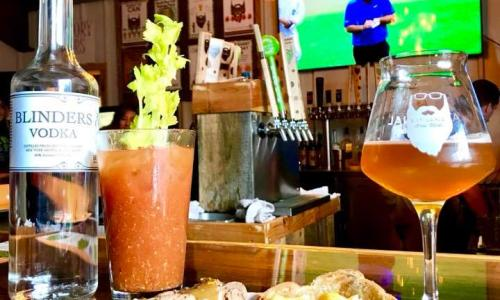 Artisnal Brew Works Bloody Mary and beer