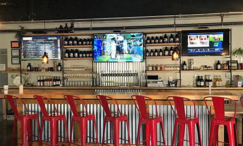 Racing City Brewing Red Stools at Bar