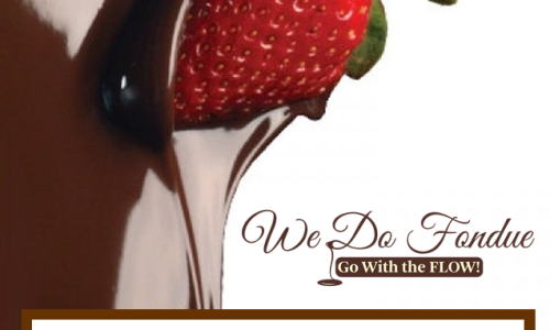We Do Fondue advertising poster with strawberry dripping in chocolate