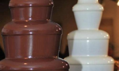 We Do Fondue Dark and white chocolate fountains