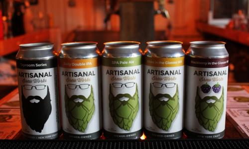Artisinal Brew Works beer cans lined up