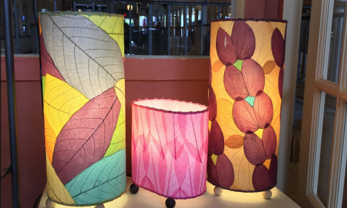 Fair trade lamps from the Philippines are made with cocoa leaves