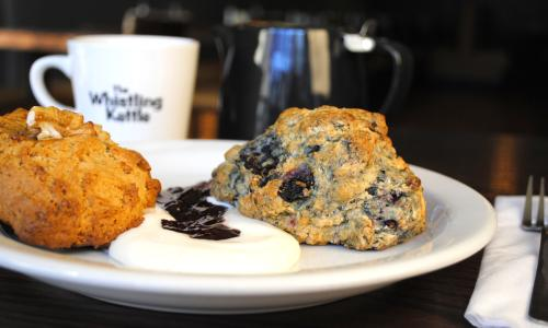 Whistling Kettle scone and coffee
