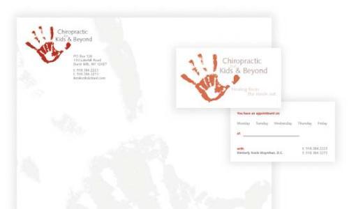 Designsmith Studio chiropractic ad with child's handprint