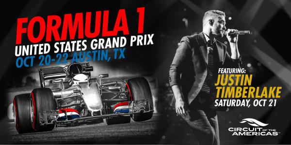 Justin Timberlake flyer for F1 USGP 2017