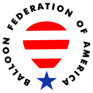 Balloon Federation of America logo red white and blue looks like a hot air balloon