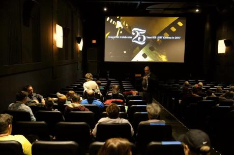 people gather in the Little Theatre to watch films as part of the ImageOut Film Festival