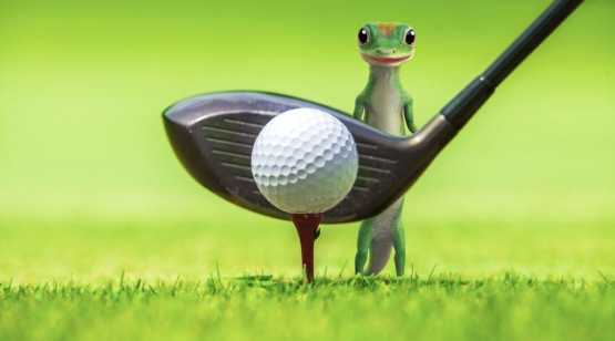 GEICO gecko with golf club and ball
