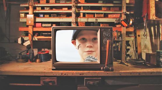 Original Vessel television set on shelf