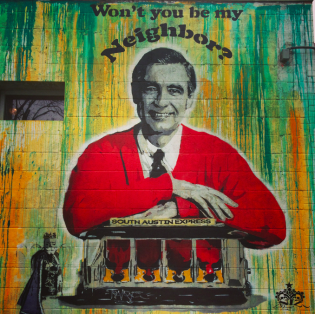 Mr. Rogers representing at Home Slize Pizza. Photo by Heidi Gollub.