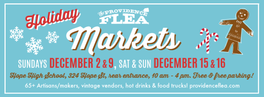 Flea Holiday Market banner with candy canes and gingerbread man