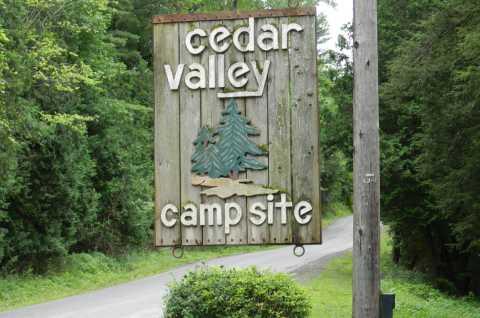 Cedar Valley Campsites sign