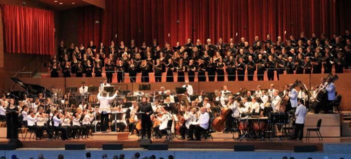 Full orchestra and chorus performing at the Grant Park Music Festival