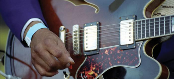 Close-up of a guitarist playing at the Chicago Blues Festival