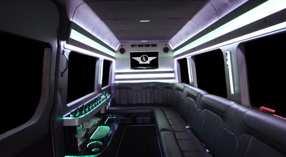 9 Passenger Mercedes Sprinter Limo Interior