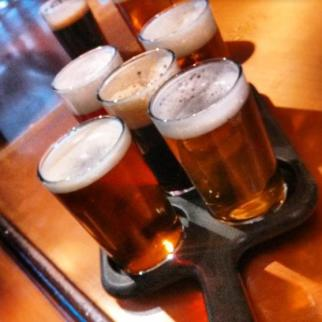 Several pints of beer ready to serve