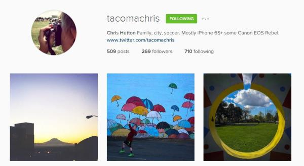 Chris Hutton Instagram account
