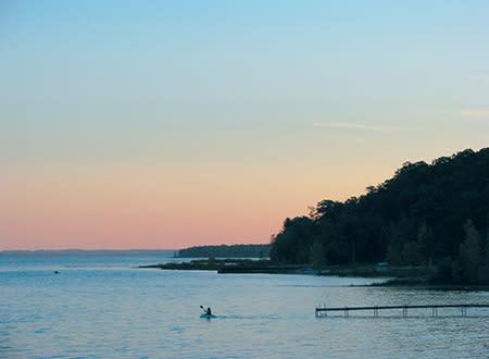 Fall paddler at Bowers Harbor