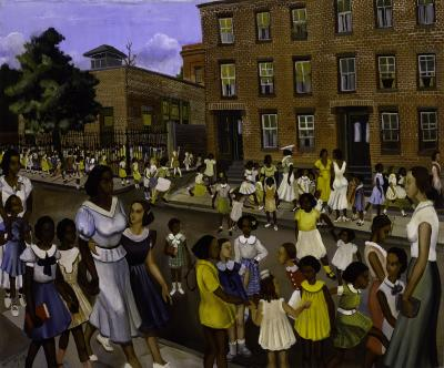 Allan Rohan Crite painting of city street outside school building with dozens of children, mostly African American, on sidewalks and in schoolyard