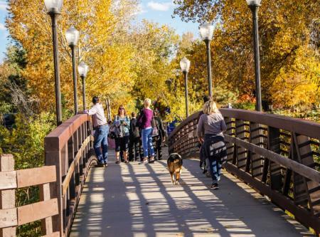Fall Walk on Bridge