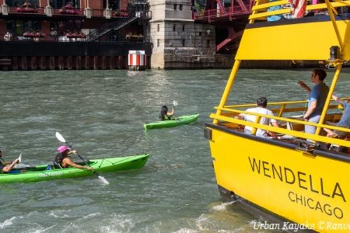 Urban kayaks in the Chicago River