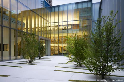 courtyard surrounded by glass walls, a few trees