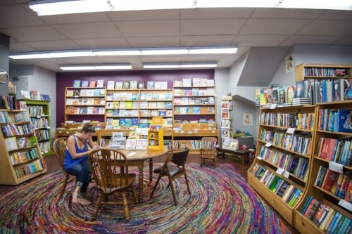 Interior of Women and Children First Bookstore in Chicago