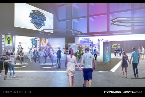 Couples Walking Through Arlington ESports Stadium store